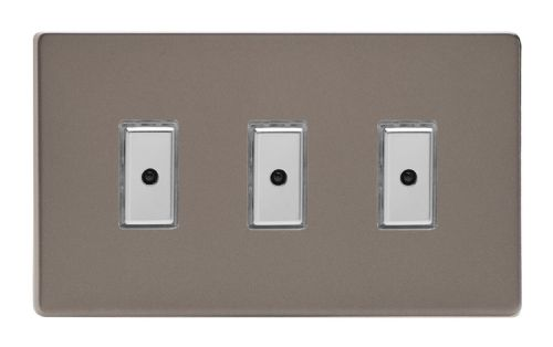 Varilight JDRE103S Screwless Pewter 3 Gang V-Pro Remote/Touch Master LED Dimmer 0-100W
